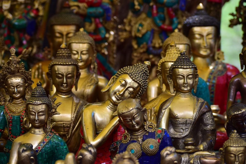 little idols of buddha in the markets of Ladakh